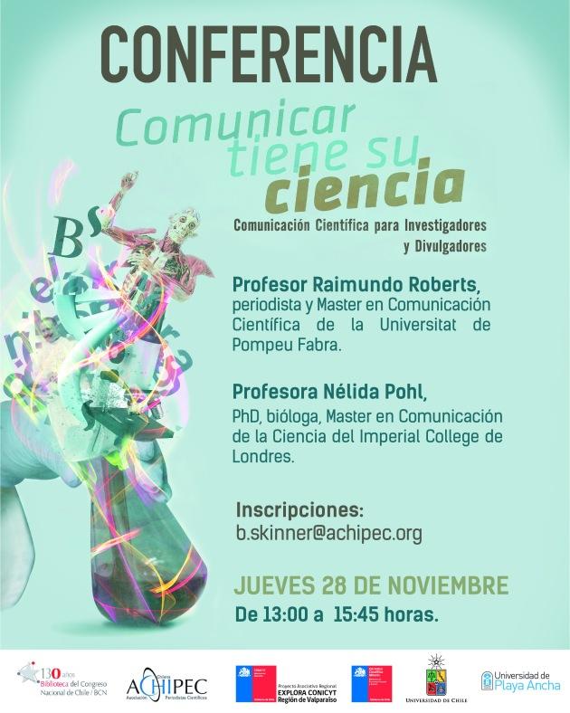 afiche comunicar ciencia UPLA conlogo